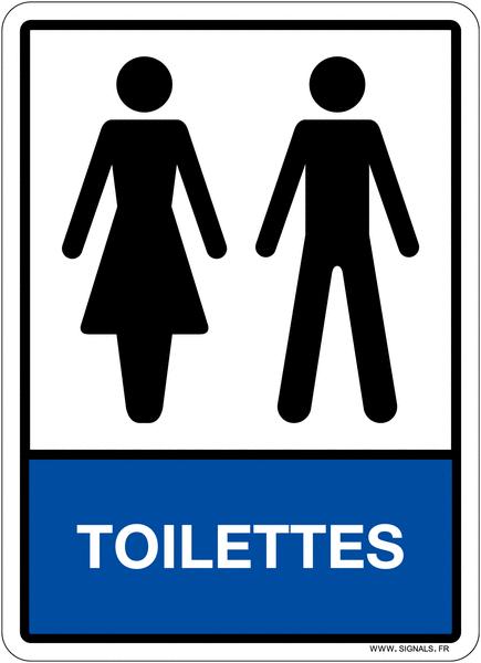 Plaque en plexiglas avec pictogramme et texte toilettes