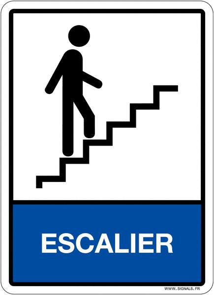 Plaque en plexiglas d'information pictogramme et texte escalier
