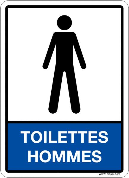Plaque en plexiglas d'information pictogramme et texte toilettes hommes