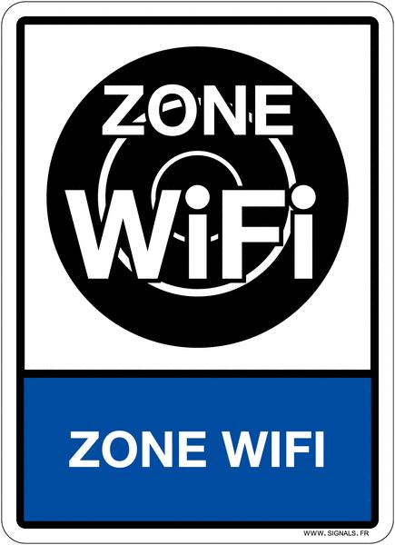 Plaque en plexiglas d'information pictogramme et texte zone WIFI