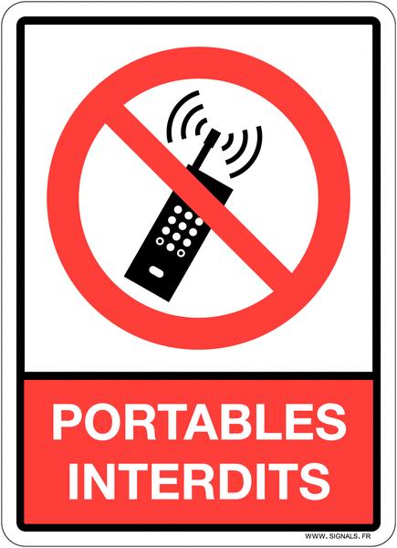 Plaque en plexiglas d'interdiction pictogramme et texte portables interdits