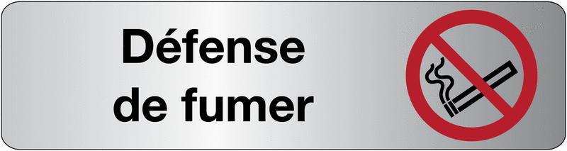 Plaque en plexiglas avec texte et symbole défense de fumer