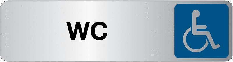 Plaque en plexiglas avec texte et symbole pour toilettes handicapés