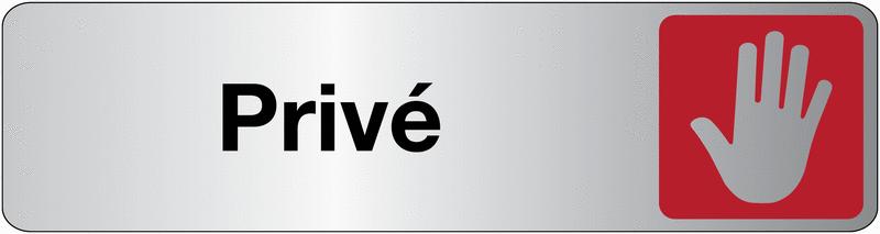 Plaque en plexiglas avec texte et symbole d'accès privé