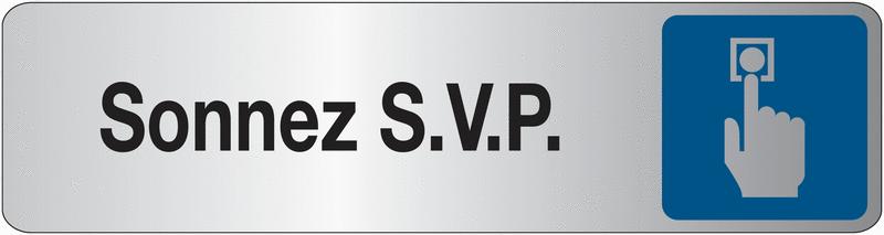 Plaque en plexiglas avec texte et symbole Sonnez SVP