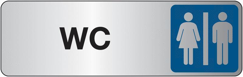 Plaque en plexiglas avec texte et symbole WC femmes et hommes
