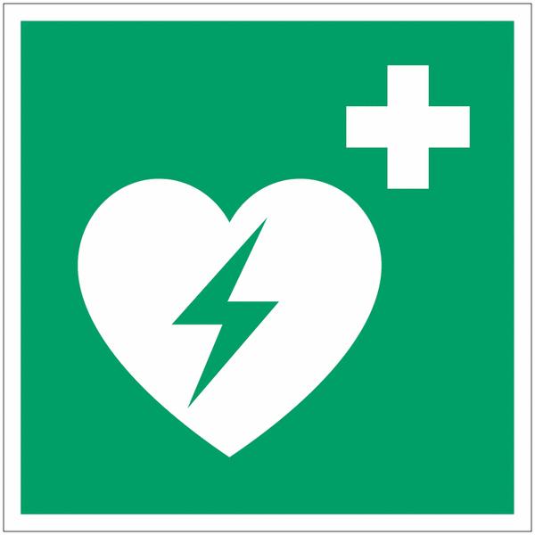 Pictogramme ISO 7010 en rouleau Défibrillateur automatique externe pour le cœur - E010