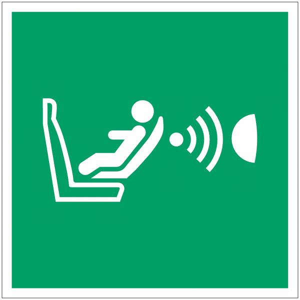 Pictogramme ISO 7010 en rouleau Système de détection de la présence d'un siège enfant et de son orientation (CPOD) - E014