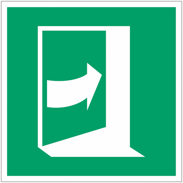 Pictogramme ISO 7010 en rouleau Porte qui s'ouvre en poussant sur son côté droit - E023