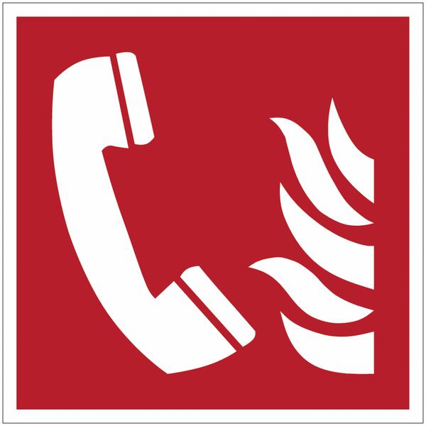 Pictogramme ISO 7010 en rouleau Téléphone à utiliser en cas d'incendie - F006