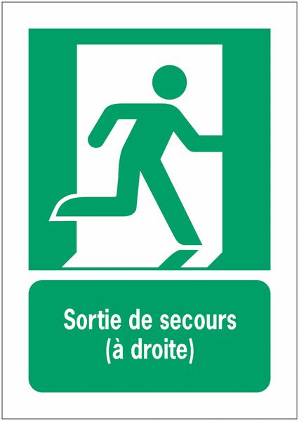 Porte-documents adhésifs à fermeture magnétique Sortie de secours (à droite) - Panneaux et pictogrammes Sortie et Issue de secours