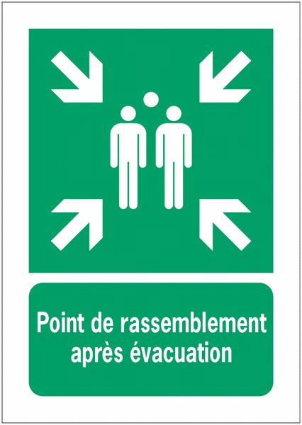 Panneaux NF EN ISO 7010 A3/A4/A5 Point de rassemblement après évacuation - E007