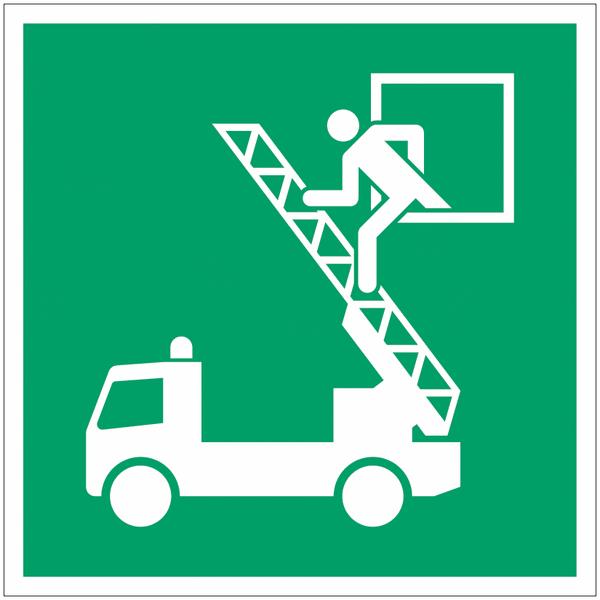 Pictogramme ISO 7010 en rouleau Fenêtre de secours - E017
