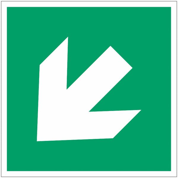 Pictogramme ISO 7010 en rouleau Flèche Evacuation Oblique - A045