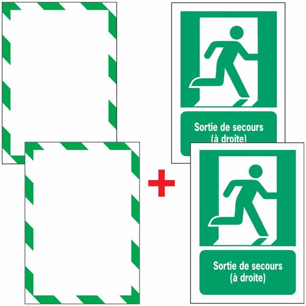 Porte-documents adhésifs à fermeture magnétique Sortie de secours (à droite)