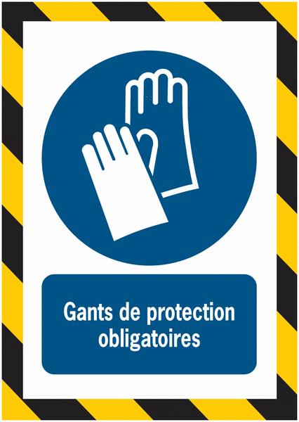Porte-documents adhésifs à fermeture magnétique Gants de protection obligatoires - Seton