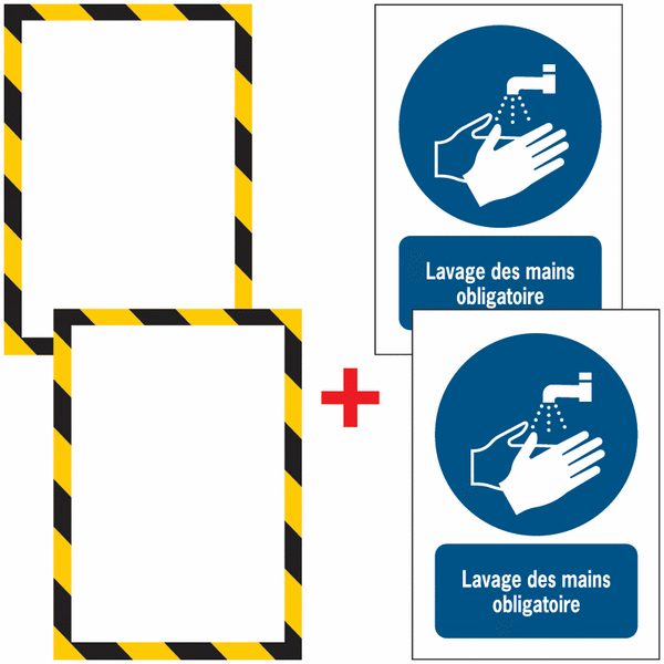 Porte-documents adhésifs à fermeture magnétique Lavage des mains obligatoire