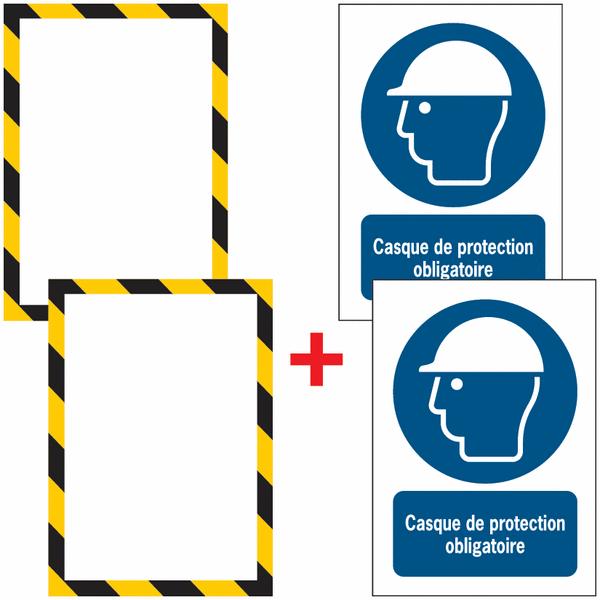 Porte-documents adhésifs à fermeture magnétique Casque de protection obligatoire