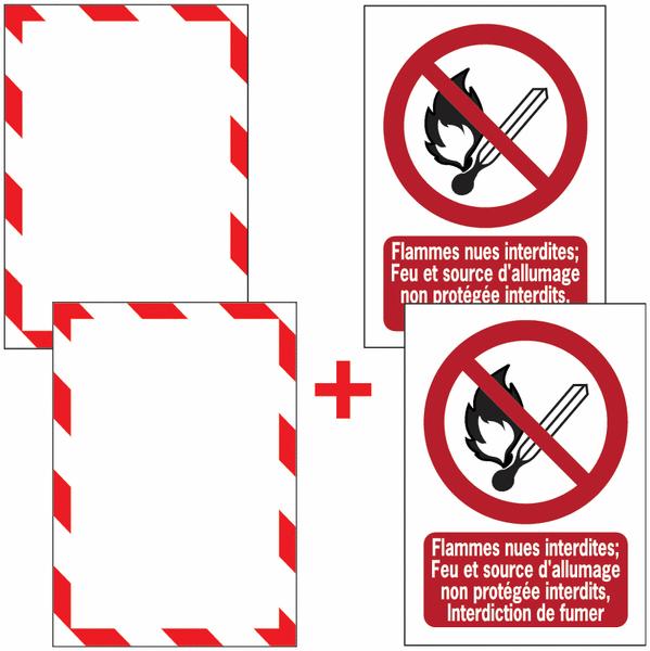 Porte-documents adhésifs à fermeture magnétique Flammes nues interdites; Feu et source d'allumage non protégée interdits, Interdiction de fumer