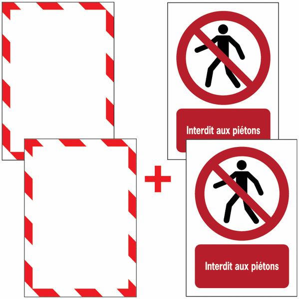 Porte-documents adhésifs à fermeture magnétique Interdit aux piétons