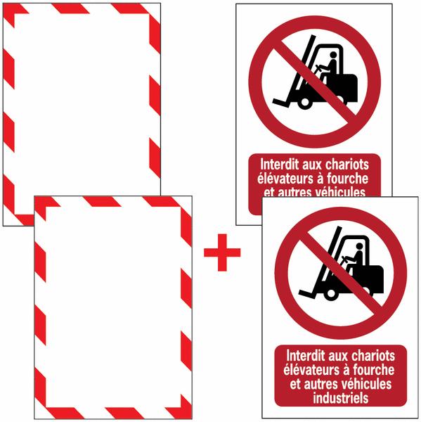 Porte-documents adhésifs à fermeture magnétique Interdit aux chariots élévateurs à fourche et autres véhicules industriels