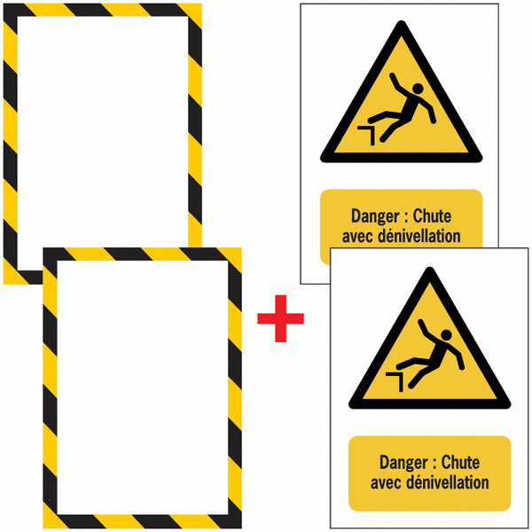 Porte-documents adhésifs à fermeture magnétique Danger Chute avec dénivellation