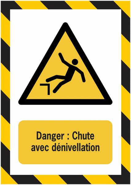 Porte-documents adhésifs à fermeture magnétique Danger Chute avec dénivellation - Seton
