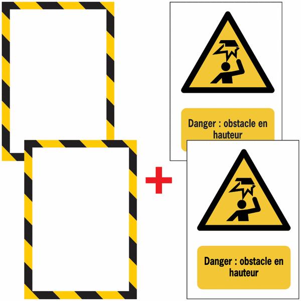 Porte-documents adhésifs à fermeture magnétique Danger Obstacle en hauteur