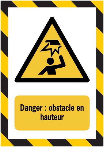 Porte-documents adhésifs à fermeture magnétique Danger Obstacle en hauteur - Seton