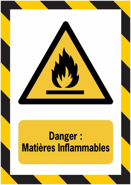 Porte-documents adhésifs à fermeture magnétique Danger Matières Inflammables - Seton