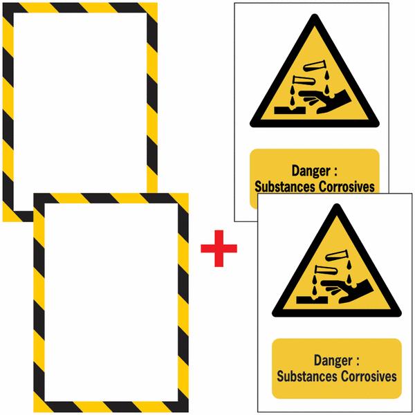 Porte-documents adhésifs à fermeture magnétique Danger Substance corrosive