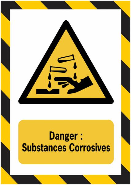 Porte-documents adhésifs à fermeture magnétique Danger Substance corrosive - Seton