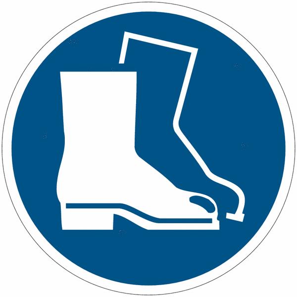 Pictogrammes NF EN ISO en aluminium Chaussures de sécurité obligatoires - M008