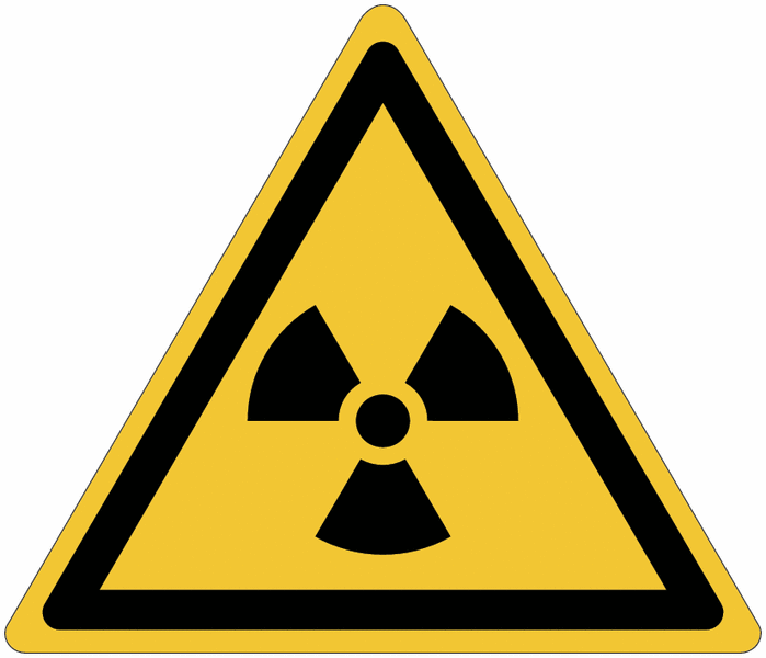 Pictogrammes NF EN ISO en aluminium Danger matières radioactives ou radiations ionisantes W003