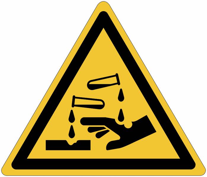 Pictogrammes NF EN ISO en aluminium Danger substances corrosives - W023