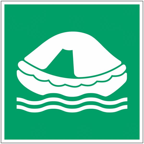 Panneau maritime d'évacuation NF EN ISO 7010 photoluminescent Radeau de sauvetage