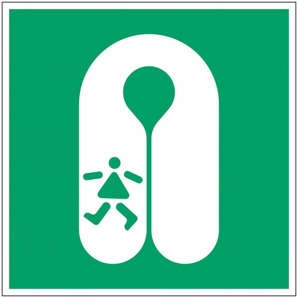Panneau maritime d'évacuation NF EN ISO 7010 photoluminescent Gilet de sauvetage pour les enfants