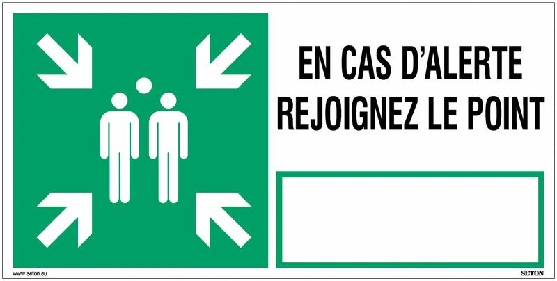 Panneau point de rassemblement NF EN ISO7010 En cas d'alerte rejoignez le point - E007