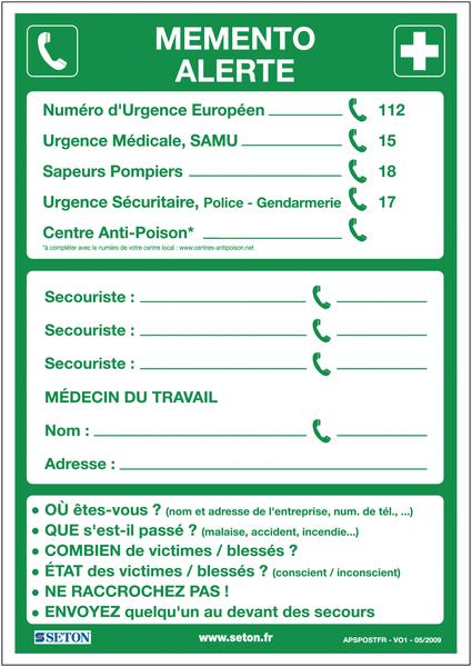 Poster Alerte Premiers secours plastifié en format A3