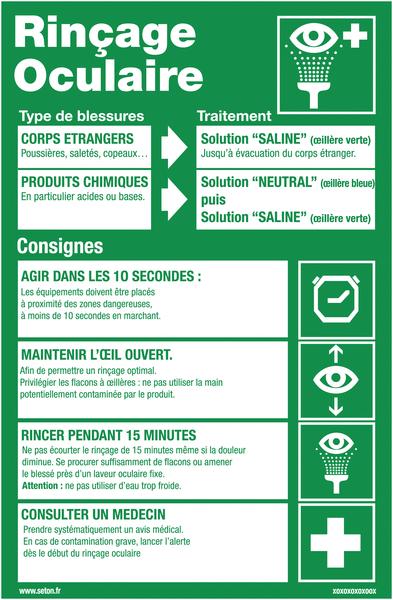 Poster Rinçage oculaire plastifié en format A3