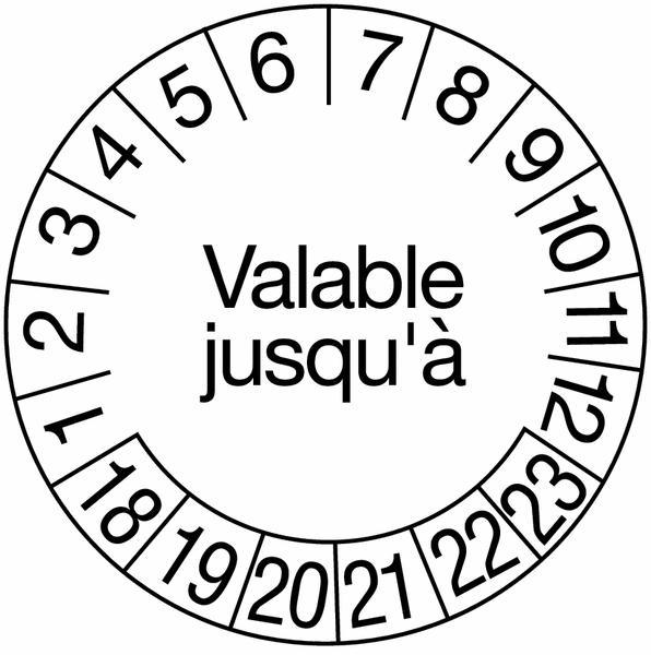 Pastilles calendrier rondes avec texte en tissu plastifié
