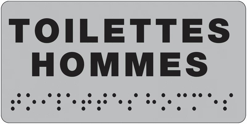 Plaque de porte Toilettes Hommes en braille