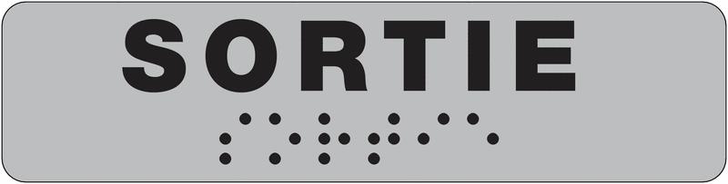 Plaque de porte Sortie en braille