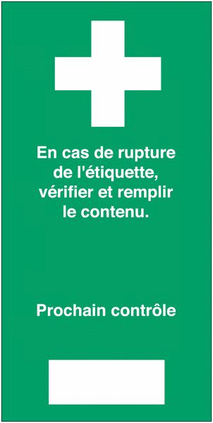 Etiquettes de contrôle pour trousse de secours