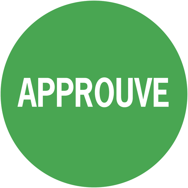 Pastilles adhésives permanentes à texte Approuvé