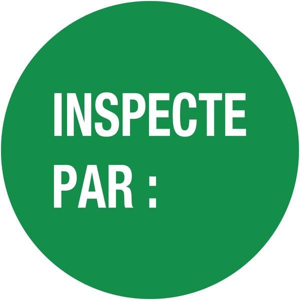 Pastilles d'inspection avec adhésif enlevable Inspecté par :