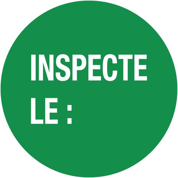 Pastilles d'inspection avec adhésif enlevable Inspecté le :