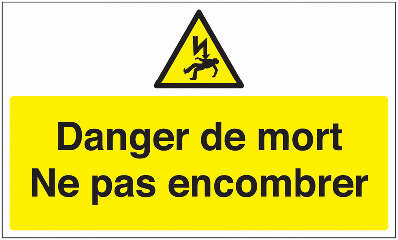 Marquage au sol avec texte et pictogramme - Danger de mort