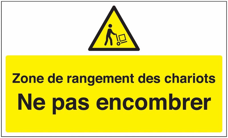 Marquage au sol avec texte et pictogramme - Zone de rangement des chariots
