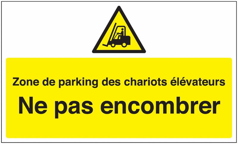 Marquage au sol avec texte et pictogramme - Zone de parking des chariots élévateurs  - W014